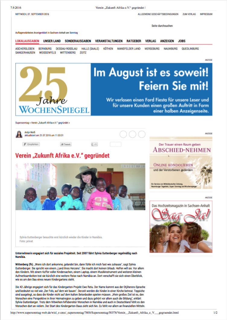 Screenshot Presseartikel