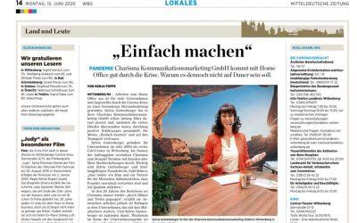 """Regionaler Zeitungsbeitrag: Wie kommt Charisma durch """"Corona""""?"""